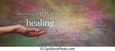 bölcs, transzparens, gyógyulás, szavak