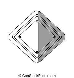 böllér, árnykép, gyémánt, közlekedési jelzőtábla