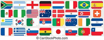 böllér, közül, nemzeti, zászlók