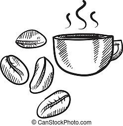 böna, kaffe kopp, skiss