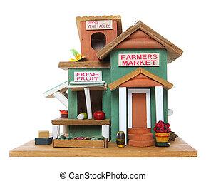 bönder marknadsför, med, frukt, och, grönsaken
