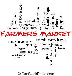 bönder marknadsför, ord, moln, begrepp, in, röd, lock