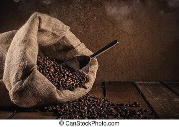 bönor, kaffe, grunge, bakgrund