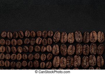 bönor, kaffe, svart fond, steket