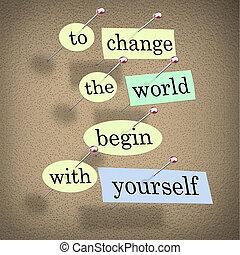 börja, -, dig själv, bord, värld, bulletin, ändring