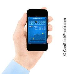 börs, ansökan, på, smartphone