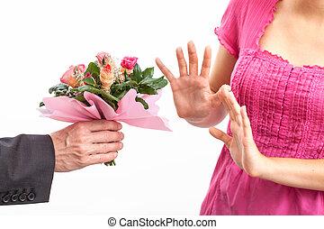 böser , ablehnen, entschuldigung, ehefrau