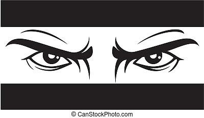 böser , blick, eyes), (bad