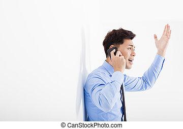 böser , geschäftsmann, reden telefon, in, buero