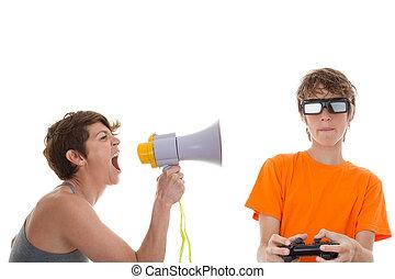 böser , mutter, von, jugendlich, spielen computerspielen