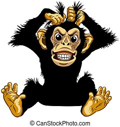 böser , schimpanse, karikatur, sitzen