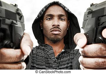 böser , schwarzer mann, erwachsener, mit, pistolen