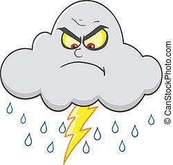 böser , wolke, regen, blitz