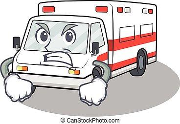böser , zeichen, design, krankenwagen, karikatur, gesicht, haben
