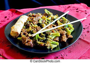 bøf, hos, broccoli, og, forår rull