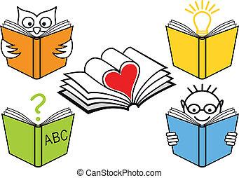 bøger, vektor, åbn