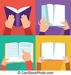 bøger, vektor, sæt, holde ræk