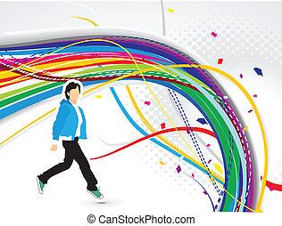 bølge, farverig, grunge, abstrakt