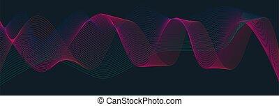 bølge, farverig, sort, abstrakt, baggrund