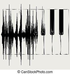 bølge, lyd, klaviatur, piano