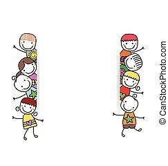 børn, banner, glade