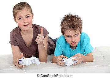 børn, boldspil spille video