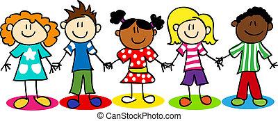 børn, diversity, pind figur, etniske