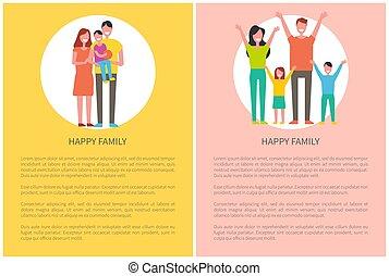 børn, familie, forældre, sammen., tid, spend, glade