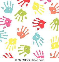 børn, farverig, handprint