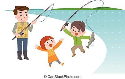børn, fiske, familie, glade