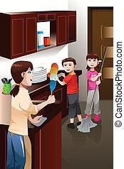 børn, forældre, hus, hjælper, deres, rensning