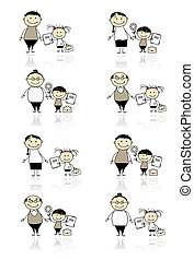 børn, forældre, tilbage, skole