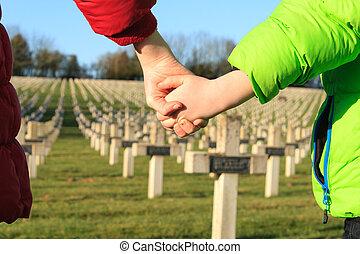 børn, gang, hånd ind hånd, by, fred, verden, krig, 1