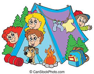 børn, gruppe, camping