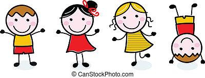 børn, gruppe, doodle, isoleret, hvid, glade