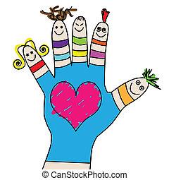 børn, hånd