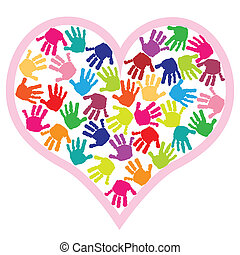børn, hånd trykker, ind, hjertet