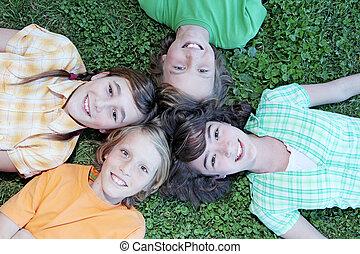 børn, hos, smukke, smiler, og, hvid tand