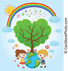 børn, hugging, jord
