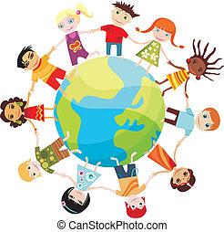 børn, i, verdenen
