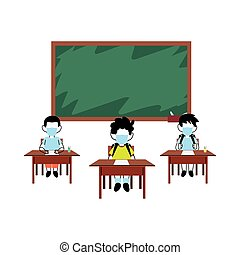 børn, indstudering, masker, klasseværelse, zeseed