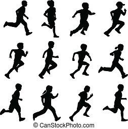 børn løbe, silhuetter