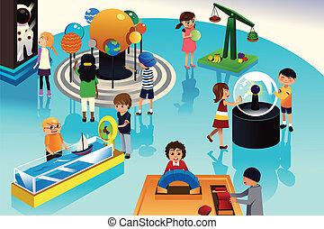 børn, på, en, tur, til, en, videnskab centrer