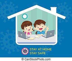 børn, pengeskab, hjem, ophold
