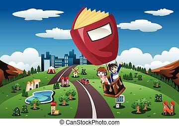 børn, ride, ind, en, hed luft ballon