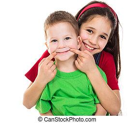 børn, sammen, glade