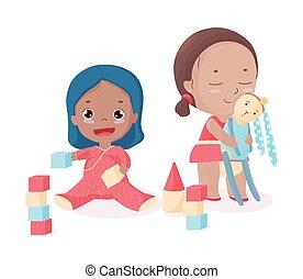 børn, sammen., spill, cute