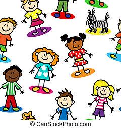 børn, seamless, figur, pind