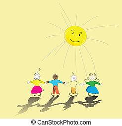 børn, sol, multiracial, deres, hånd ind hånd, smil