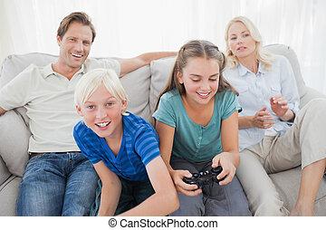 børn spille, boldspil video, på, den
